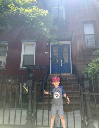 George Outside our Old Walk-up Apartment in Boerum Hill